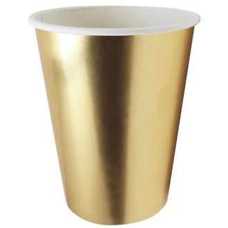 Party Paper Cup 8pcs Solid Metallic Gold