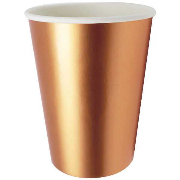 Party Paper Cup 8pcs Solid Metallic Rose Gold