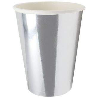 Party Paper Cup 8pcs Solid Metallic Silver