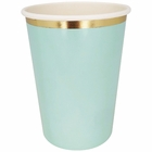 Party Paper Cup 8pcs Solid Mint Gold Foil Trim