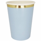 Party Paper Cup 8pcs Solid Sky Blue Gold Foil Trim