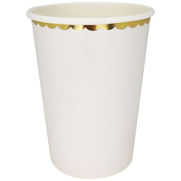 Party Paper Cup 8pcs White Gold Scallop Trim