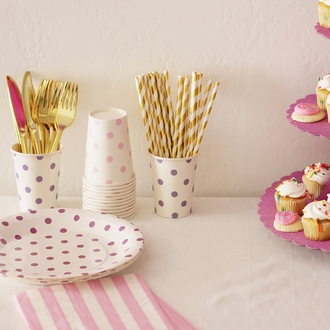 Party Paper Cups 12pcs Baby Pink Polka Dot