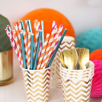 Party Paper Cups 12pcs Metallic Gold Chevron