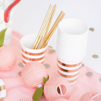 Party Paper Cups 12pcs Metallic Gold Striped