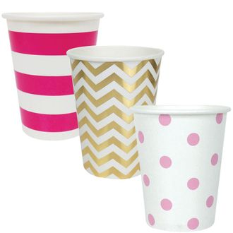 """Party Paper Cups 36pcs Assorted""""Baby Girl"""" Decorative Pack - Premier"""