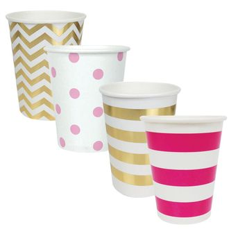 """Party Paper Cups 48pcs Assorted""""Baby Girl"""" Decorative Pack - Premier"""
