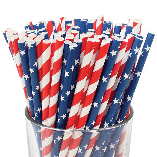 Patriotic Pattern Paper Straws 100pcs