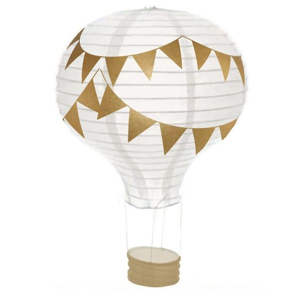 Pennant Gold Hot Air Balloon Paper Lantern 12in