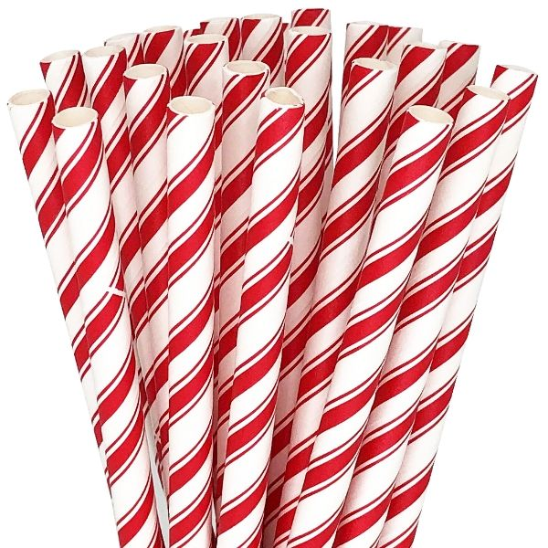 Peppermint Striped Paper straws 25pcs