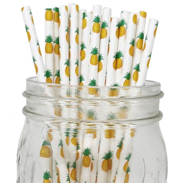 Pineapple Paper Straws 25pcs
