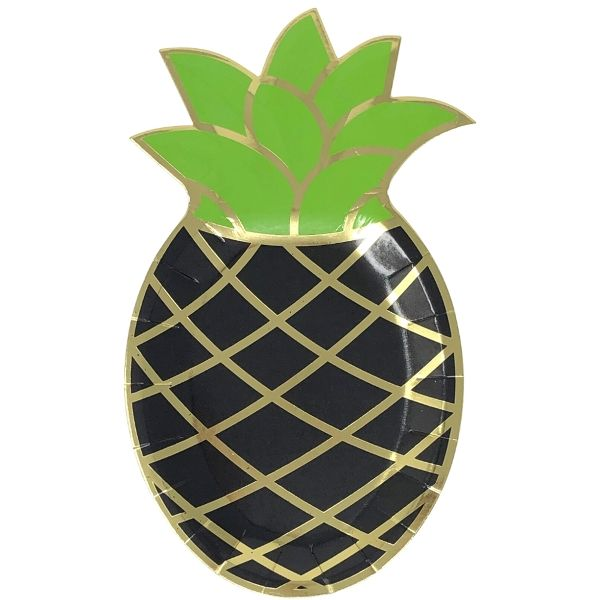 Pineapple Shaped Paper Plates Black Gold 10in 8pcs