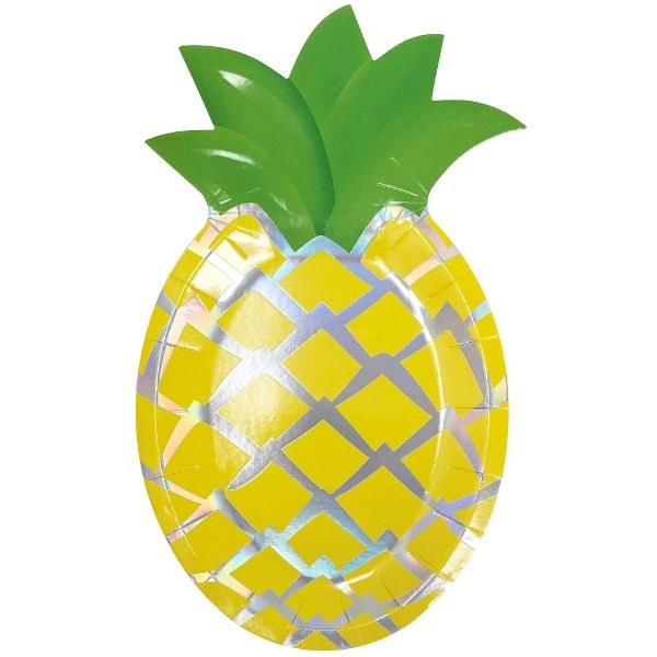 Pineapple Shaped Paper Plates Yellow Iridescent 10in 8pcs
