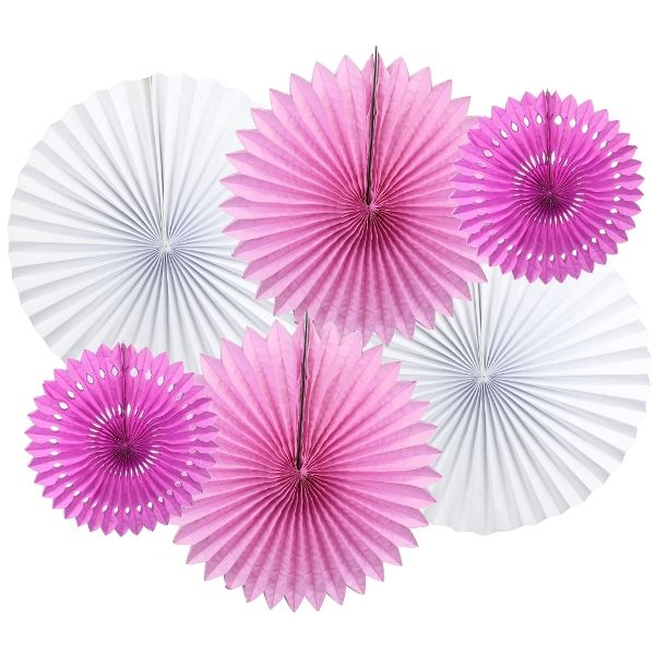 Pink-a-Boo Pinwheel and Tissue Fan Decorating Kit 6pcs