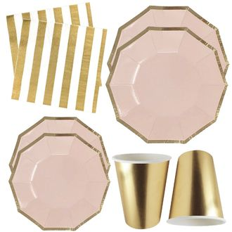 Pink and Gold Tableware Kit 44pcs - Premier