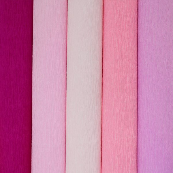 Pink Assorted Crepe Paper Roll Package 5pcs