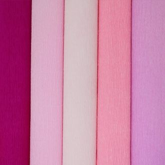 Pink Assorted Crepe Paper Roll Package 5pcs 90g