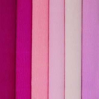 Pink Assorted Crepe Paper Roll Package 6pcs