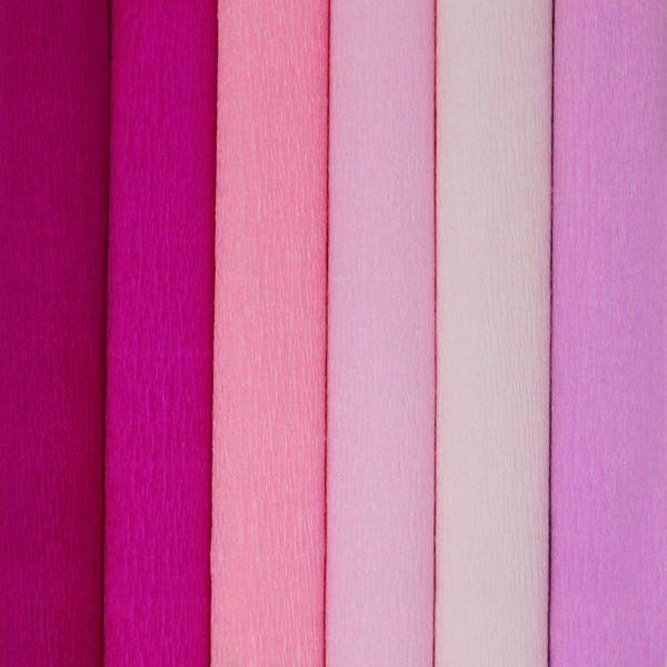 Pink Assorted Crepe Paper Roll Package 6pcs 90g