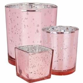 Pink Glass Votive Candle Holders