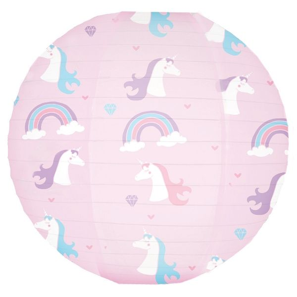 Pink Unicorns and Rainbows Magical Pattern 12inch Paper Lantern