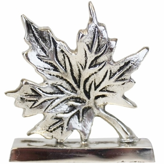 Place Card Holder Autumn Leaf Silver