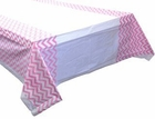 Plastic Rectangular Tablecloth/Cover - 5 PACK - (70-Inch L x 43-Inch W) - Chevron Pattern: Baby Pink - Premier