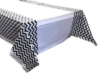 Plastic Rectangular Tablecloth/Cover - 5 Pack - (70-Inch L x 43-Inch W) - Chevron Pattern: Black - Premier