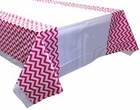 Plastic Rectangular Tablecloth/Cover - 5 Pack - (70-Inch L x 43-Inch W) - Chevron Pattern: Fuchsia - Premier
