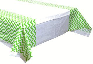 Plastic Rectangular Tablecloth/Cover - 5 Pack - (70-Inch L x 43-Inch W) - Chevron Pattern: Green Apple - Premier