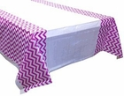 Plastic Rectangular Tablecloth/Cover - 5 Pack - (70-Inch L x 43-Inch W) - Chevron Pattern: Plum - Premier