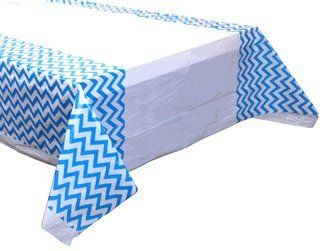 Plastic Rectangular Tablecloth/Cover - 5 Pack - (70-Inch L x 43-Inch W) - Chevron Pattern: Powder Blue - Premier