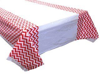 Plastic Rectangular Tablecloth/Cover - 5 Pack - (70-Inch L x 43-Inch W) - Chevron Pattern: Red - Premier