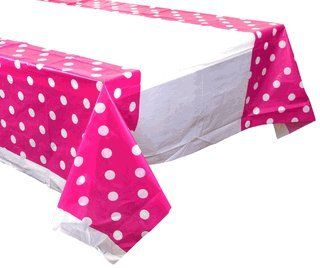 Plastic Rectangular Tablecloth/Cover - 5 Pack - (70-Inch L x 43-Inch W) - Polka Dot Pattern: Fuchsia - Premier