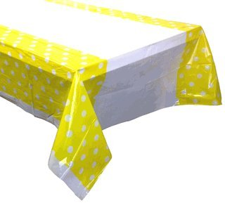 Plastic Rectangular Tablecloth/Cover - 5 Pack - (70-Inch L x 43-Inch W) - Polka Dot Pattern: Lemon Yellow - Premier