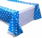Plastic Rectangular Tablecloth/Cover - 5 Pack - (70-Inch L x 43-Inch W) - Polka Dot Pattern: Powder Blue - Premier