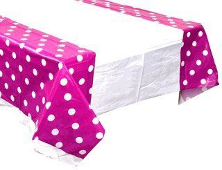 Plastic Rectangular Tablecloth/Cover - 5 Pack - (70-Inch L x 43-Inch W) - Polka Dot: Plum - Premier