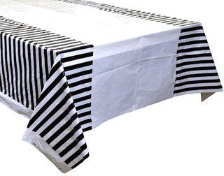 Plastic Rectangular Tablecloth/Cover - 5 Pack - (70-Inch L x 43-Inch W) - Striped Pattern: Black - Premier