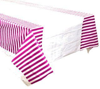 Plastic Rectangular Tablecloth/Cover - 5 Pack - (70-Inch L x 43-Inch W) - Striped Pattern: Plum - Premier