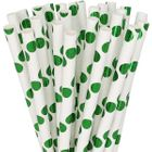 Polka Dot Paper Straw 25pcs Metallic Green