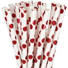 Polka Dot Paper Straw 25pcs Metallic Red