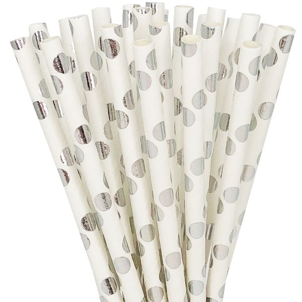 Polka Dot Paper Straw 25pcs Metallic Silver