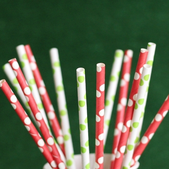 Polka Dot Paper Straws 25pcs Red with White Dots