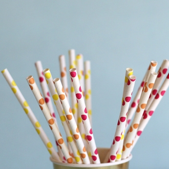 Polka Dot Paper Straws 25pcs Yellow