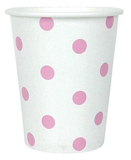 Polka Dot Party Paper Cups (24pc, Baby Pink) - Premier