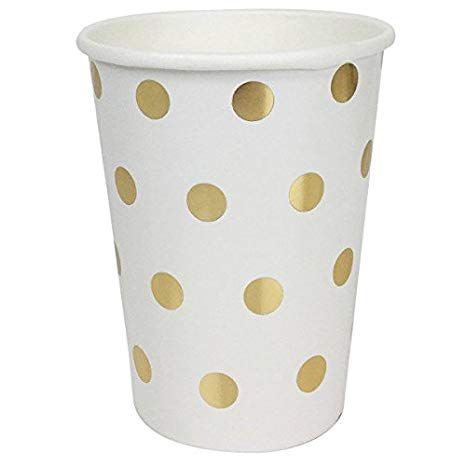 Polka Dot Party Paper Cups (24pc, Metallic Gold) - Premier