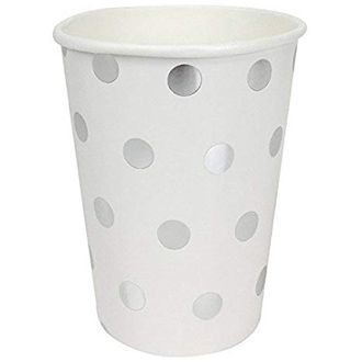 Polka Dot Party Paper Cups (24pc, Metallic Silver) - Premier