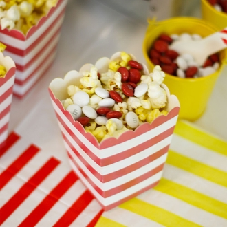 Popcorn Boxes 12pcs Rugby Stripe Red