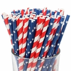 Premium Biodegradable 100pcs Assorted Decorative Paper Straws - Patriotic - Premier