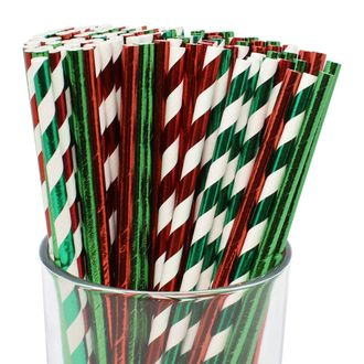 Premium Biodegradable 100pcs Christmas Decorative Paper Straws (Color: Assorted #42) - Premier